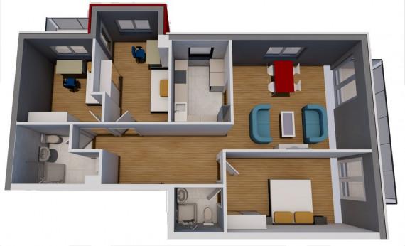 Trosoban stan (78.84 m2)